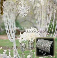 acryl kristall perlenstränge großhandel-30m DIY schillernder Girlande-Diamant-Acrylkristall bördelt Strang-Schimmer-Hochzeitsdekoration-freien Verschiffenhochzeitsmittelstücke