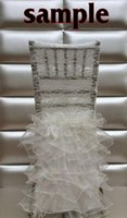 Wholesale Ivory Lace Chair Sashes - 2015 chiffon Choose Colors Chair Sashes Sample With Lace Ruffles Ivory Chair Decorations Wedding Accessories Wedding Decorations