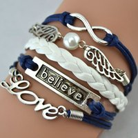 Wholesale Game Day Bracelet - Infinity Believe Hunger Games Anchor Wing Love Jesus Owl Multilayer Pattern Leather Bracelet