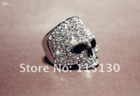 Wholesale Skulls Punk Rock Rings - Wholesale-Vintage Europe a silver colored Simulated Diamond skull rings for men Rock Punk Gold Ring Fashion Jewelry Free shipping