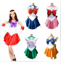 ingrosso luna marinaio costume-Gioco di ruolo Completo Costumi di Halloween Costumi Mascot Cosplay Sailor Moon Costume Cosplay Halloween Fancy dress Up Sailormoon Outfit Guanti Novità