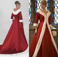 Wholesale Coat Dresses For Weddings - Long Sleeves Cloak Winter Ball Gown Wedding Dresses Red Warm Formal Dresses For Women Fur Appliques Christmas Gown Jacket Bridal BO9805
