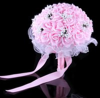 Wholesale Hand Made Bouquets - Wedding Bride Holding Flowers 2015 new style Bridal Bouquet with Hand Made Flowers bridesmaid Wedding bouquet