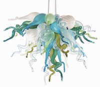 moderne kunst glas kronleuchter großhandel-Neue Ankunft moderne Murano Glas Aqua Blue Amber Multicolor 20 Zoll LED 100% mundgeblasenem Glas Anhänger Kronleuchter