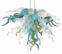 led de vidro pendente venda por atacado-Nova Chegada Moderna Murano De Vidro Azul Do Aqua Âmbar Multicolor 20 polegadas LED 100% Mão Soprado Pingente De Vidro Lustres