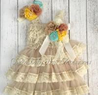Wholesale Dress Tutu Baby Petti - Petti Lace Dresses Headband Set Vintage Inspired Headband Luxe Broche Clip Baby Girl Birthday Outfit 4set lot