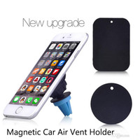 Wholesale Vent Free - Magnets Bracket Universal Magnetic Car Air Vent Holder Outlet Mount For iPhone Samsung Cell Phone Mounts Holders DHL Free Shipping