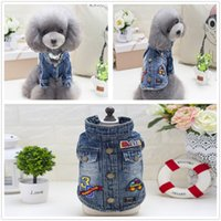 Wholesale Cheap Pet Clothing - Autumn single denim washed denim texture pet clothes cheap small dog clothes pet supplies puppy costumes