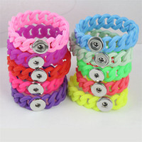 Wholesale Stretch Bracelets Personalized - 2016 Newest Fashion Silicone Stretch Bracelets Fit 18mm Snap Buttons DIY Personalized Silver Noosa Snap Chunk Jewelry Valentine Gift DCBJ233