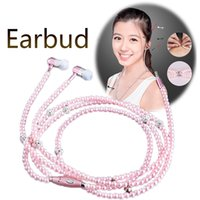 Wholesale Headphone Jewelry Plug - Luxury Jewelry Pearl Necklace Headphones 3.5MM Plug 1.2M Length Wired Earbud Bling Earphones with Microphone for iPhone Samsung Smart Phone