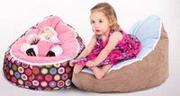 Wholesale Baby Bean Bag Covers - Muti-color BABY SEAT Babies Bean Bag Children Sofa Chair Cover Soft Snuggle Bed With Harness Strap Cute Cartoon Printed Dots Pink Blue I2447