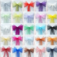 Wholesale Gold Chairs Wedding Favors - 2015 Wedding Party Banquet Organza Sash Bows(100 a Lots) For White Chair Cover Wedding Decorations Favors Wedding Supplies Accessories