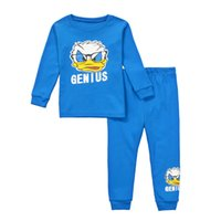 Wholesale Genius Home - Baby Clothes 2 Pieces Genius Cartoon Longe Sleeve Sleepwear Home Clothing For Chrildren Kids Sleepwear Cotton Shirt Suit Pajamas