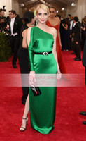 Wholesale Emma Roberts White Dress - 2015 Spring Emma Roberts Met Ball Gala Celebrity Dresses Sexy Backless One Shoulder Long Sleeve Split Dark Green Formal Evening Gown EWL0146