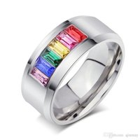 Wholesale Luxury Crystal Rainbow - wholesale Birthday Christmas Gifts luxury rainbow crystal Ring Shinning Engagement wedding stainless steel ring free shipping