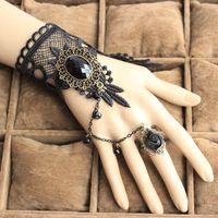 Wholesale Vampire Bracelet Charms - Wholesale-Wholesale Gothic big gem stone black lace bracelets women fashion jewelry Vampire cosplay hand wristbands B110