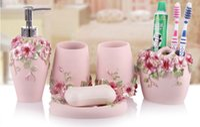 Wholesale Dispenser Cups - High Quality Elegant 5Pcs  Set Resin Household Wash Brush Cup ,Liquid Soap Dispensers Soap Dishes Bathroom Accessories