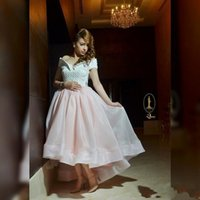 Wholesale Tea Length Off White Skirt - Off The Shoulder Short Prom Dresses Puffy Organza Skirt Pearls Hi-lo Formal Evening Gowns Arabic Islamic Muslim Pakistani Dresses