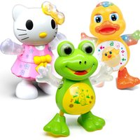 Wholesale Dancing Pet Toys - New Interactive Toy Pets Electronic Singing Swing Dancing Walking Musical Electronic Pets Frog Duck Kitty Gift For Children