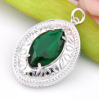 Meilleur Wholesle 3 pièces Amazing Horse Eye Shaped Green Quartz Crystal Gems 925 Sterling Silver USA Israel Mariage Pendentifs Mariages