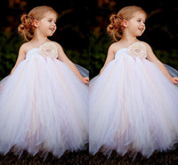 Wholesale Cheap Glitz Pageant Dresses 3t - 2015 high quality Cheap Baby Tulle Flower Girl Dresses perfect Dark Pink Infant Ball Gowns Dress Little Girl's Toddler Glitz Pageant Kids