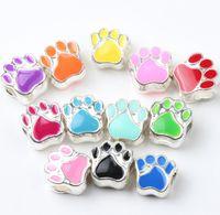 Wholesale Bead Bear - Enamel Bear Paw Print Big Hole Beads 60pcs lot 12Colors Silver Plated Bead Fit European Bracelets