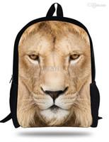 Wholesale Lion Backpack For Kids - 16-inch Mochila Escolar Menino 3D Lion Backpack Animal Print Children School Backpacks For Boys Age7-13 Animal Bag Kids Backpack