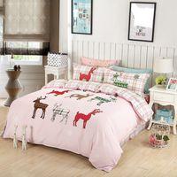 Wholesale 3d Lighting Bedding Sets - Wholesale- Christmas Bedding Set Nordic Elk Light Pink Bedclothes 100% Cotton Soft Bed Linen 4Pcs Queen Printed Home Textiles