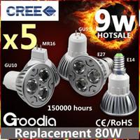 Wholesale Ce Rohs Led Spotlight - CREE 9W LED Bulb Light E27 GU10 GU5.3 MR16 E14 Security Spotlight Bulb 5 Years Warranty FREE SHIPPING
