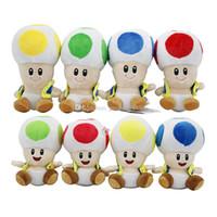 ingrosso funghi ripieni-17 cm / 7 pollici Super Mario peluche cartoon Super Mario Mushroom testa di peluche per bambino regalo di Natale C3325