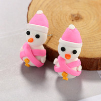 3D Handmade Polymer Clay Lovely Christmas Snowman Stud Elefante Tiger Earring For Women Girl Brincos Jóias NE834