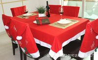 Wholesale Tablecloth Chairs - Red Rectangle Xmas Tablecloth Table Cover Decoration Santa Claus Clause Hat Chair Covers Dinner Chair Cap Sets For Christmas Xmas Decoration