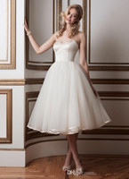 online shopping Ball Gown Wedding Dress - Free Shipping 2015 Simple Cheap Knee Length Wedding Dresses Short Bridal Gowns Corset Soft Tulle Skirt Satin Edge Low Back with Buttons