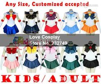 Wholesale Sailor Moon Costumes Kids - Wholesale-Japanese Anime Sailor Moon Usagi Cosplay Costume Dress For Kids Women Any Size Customized accepted Halloween party