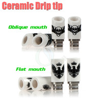 Wholesale Nozzle Cigarette - Best Ceramic Drip Tip Eagle Skull Style 2 types 510 thread nozzle Tips Wide Bore e cig cigarette vapor Mods RDA ego Atomizer RBA Mouthpiece