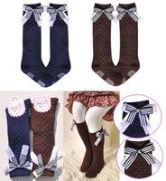 Wholesale Korean Girls Clothing - Baby girls socks Children Socks lace bowknot Kids Knit Knee High Socks Korean fashion stockings Children Clothes Kids Clothing 2015