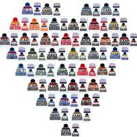 Wholesale Cheap Pom Hats - 2017 Cotton All Team Football Pom Pom Beanies Men Women Winter Hats With Pom Cheap Sports Skull Caps Hot Sale