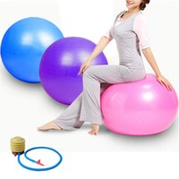 Wholesale 65cm Yoga Ball - 65CM Swiss Yoga Home Gym Exercise Pilates Equipment Fitness Ball Pump Purple Blue Pink Free Shipping