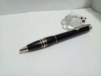 ingrosso migliori opzioni-Alta qualità Migliore design nero corpo argento clip penna a sfera e opzioni penna a rullo con testa di cristallo