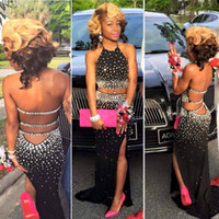 Wholesale Diamond Evening Prom Dresses - Crystal Black Two Piece African Prom Dress 2K16 Diamond Beaded Graduation Dress Backless High Slit Halter Evening Party Dresses vestidos