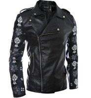 Wholesale Motorcycle Jackets Leather Classic - Fall-Leather King Men's Classic Side Lace Police Style Motorcycle Jacket