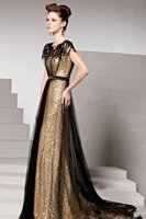 Reich Taille Pailletten Kaufen -Luxus Amazing Cheer Gold Runde Crew mit kurzen Ärmeln Empire Abendkleider Taille Sequins Beaded Black Tulle Sweep Zug Prom Party Kleider