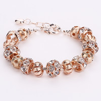 Wholesale Silver Bead Cuff Bracelets - AA35 Romantic Rose Gold Color Crystal European 925 Silver Charm Beads DIY Snake Chain Bracelets Adjustable