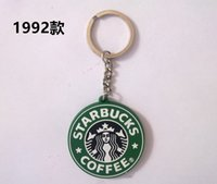 Wholesale Classic Cars Cheap - Cheap Nice Key Chains Rubber Key Rings Fasion Starbucks Logo Mermaid Keychains Green With Free Shipping