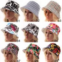 ingrosso signore montato cappelli-9 Stili Donna Boemia Plaid a righe Floreale stampato Cappellini aderenti Copricapo da donna Cappello da bambina Ragazze Cappuccio tesa Cappellino cappello trilby Cappellino