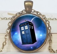 Wholesale Gold Police Pendant - 1PC Free Shipping Doctor who tardis space necklace , doctor who police box tardis necklace, tardis jewelry Glass Dome Necklace