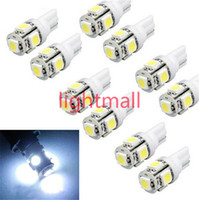Wholesale Wedge Led - 10pcs T10 Wedge 5-SMD 5050 Xenon LED Light bulbs 192 168 194 W5W 2825 158 clearance lamp White green red blue daytime running