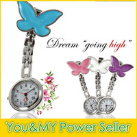 Wholesale Butterfly Clip Fob Watch - 2015 Butterfly Nurse Watch medical pocket Fob Watches Clip-on Pendant Hanging Quartz Clock Butterfly Shape for Women Ladies DHL free ship
