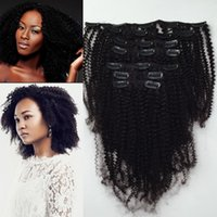 Wholesale clip human hair weave resale online - Interlovehair Brazilian Hair Weaves Clip In Remy Human Hair Extension Natural Human Hair Natural Color Afro Kinky Curly