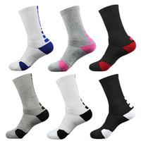 мужские полосатые носки оптовых-Новый чистый хлопок Марка Спорт Elite Stripe длинные Coolmax сжатия мужской толстым дном полотенце носки